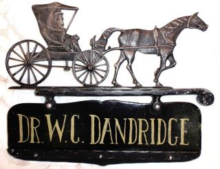 Vintage Whitehall Metal Horse & Carriage Buggy Country Doctor Sign Repaintable photo