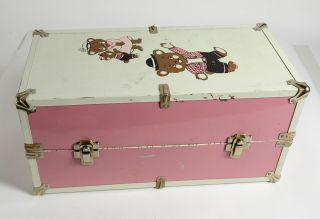 Vintage Doll Trunk Metal Case Pink White Bears W/ Drawer Wardrobe Hangar 17.  5
