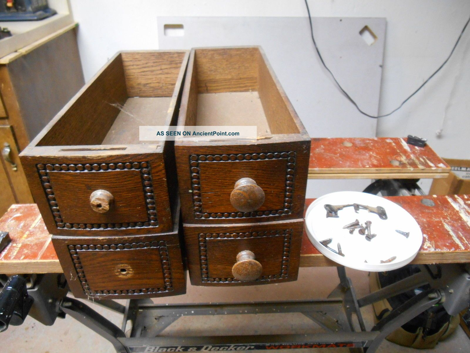 Qty 4 Treadle Sewing Machine Drawers And Hardware Furniture photo