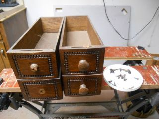 Qty 4 Treadle Sewing Machine Drawers And Hardware photo