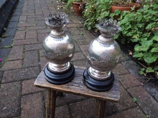 Scarce,  Quality,  Prince ' S Plate Epns Oil Lamps By Mappin & Webb,  C.  1930 photo