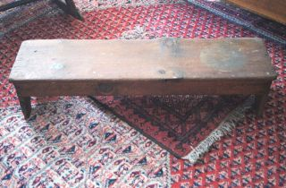 Primitive Antique Early Kneeling Bench Great Old Worn Wood Patina Old Nail photo