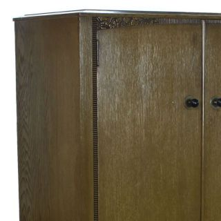 Art Deco Carved Oak Green Stained Limed Gents Fitted Wardrobe Armoire 1900 - 1950x photo