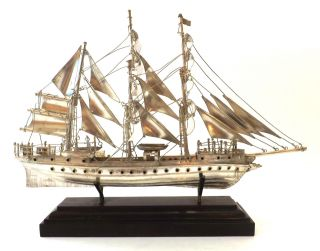 Sailing Tall Ship Desk Model Arm Cuauhtémoc Solid Sterling Silver Mexico 925 photo