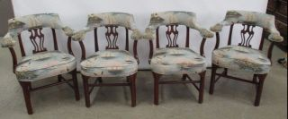4 Antique Chair Frames With Vintage Nautical Fabric Seats Mahogany Frame Chairs photo