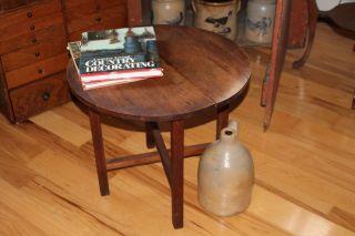 Antique Maine Paris Mfg Co Childs Folding Oak Table 604 22  Round X 20  High photo