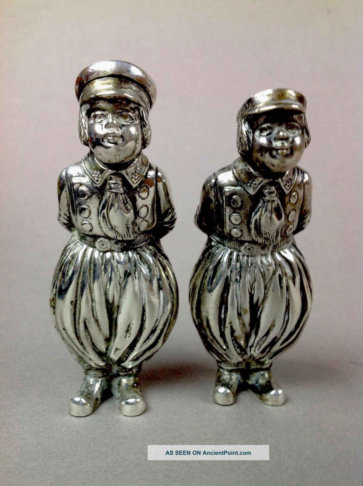 Antique Pair German 800 Sterling Silver Hanau Figural Dutch Boy Salt Shakers173g Salt & Pepper Shakers photo