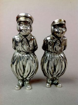 Antique Pair German 800 Sterling Silver Hanau Figural Dutch Boy Salt Shakers173g photo
