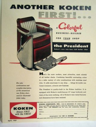 Vintage 1950 ' S Koken President Two Tone Club Barber Chair Color Sign/ad photo