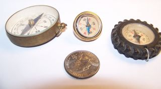 3 Vintage Toy Compasses: Tire Style Keychain - Hook Type - Miniture Japan Style photo