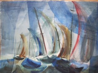Vintage Alvina Thomas Sailboats Abstract Expressionism Watercolor Painting Yqz photo