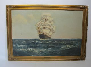 Antique Daniel Sherrin Under Full Sail Maritime Seascape O/c Signed Painting Yqz photo