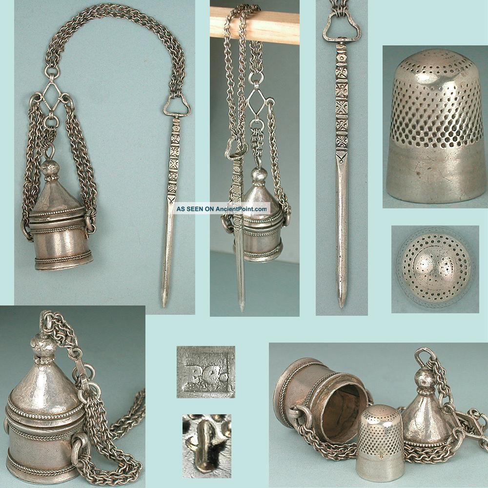 Very Early Antique Silver Tapestry Chatelaine W Thimble Case & Stiletto C1600s Other Antique Sewing photo
