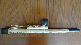 Vintage Hand Made Peru Iquitos Amazon Tribe Blowgun Blow Gun Pipe W/3 Darts Rare photo