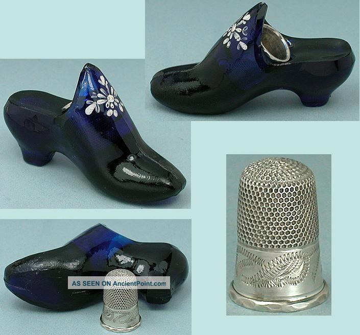 Antique English Cobalt Blue Glass Shoe W/ Sterling Silver Child ' S Thimble C1870 Thimbles photo