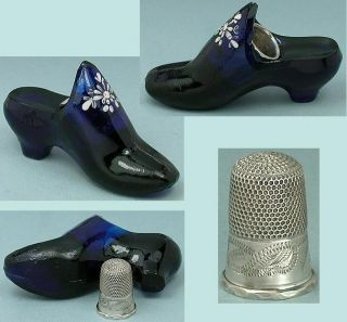 Antique English Cobalt Blue Glass Shoe W/ Sterling Silver Child ' S Thimble C1870 photo