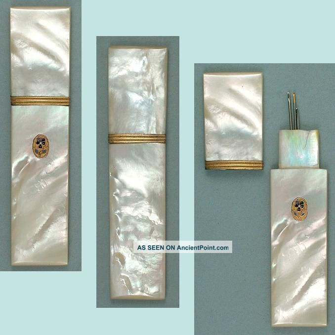 Antique Mother Of Pearl Palais Royal Needle Case W/ Pansy Seal Circa 1820 Needles & Cases photo