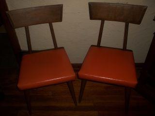 Pair Vintage Mid Century Modern Danish Baumritter Wood Orange Vinyl Chairs 1959 photo