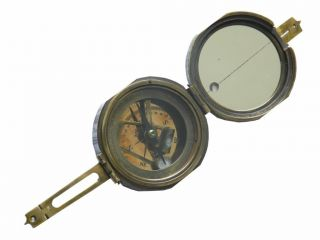 Solid Brass Surveyors Pocket Transit Compass Makers To The Queen photo
