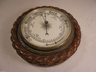 Antique Rope Twist Aneroid Barometer photo