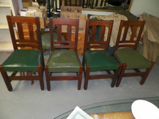 4 Quaint Furniture Stickley Bros.  Quartered Oak Slat Back Dining Chairs 371 1/2 photo