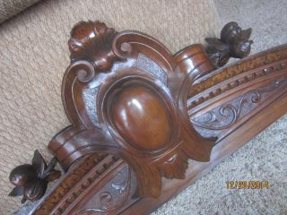 Majestic Walnut Furniture Pediment Victorian Carved Acanthus Egg & Dart Cornice photo