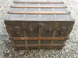 Antique Flat Top Wood & Canvas Steamer Trunk Will Ship 29