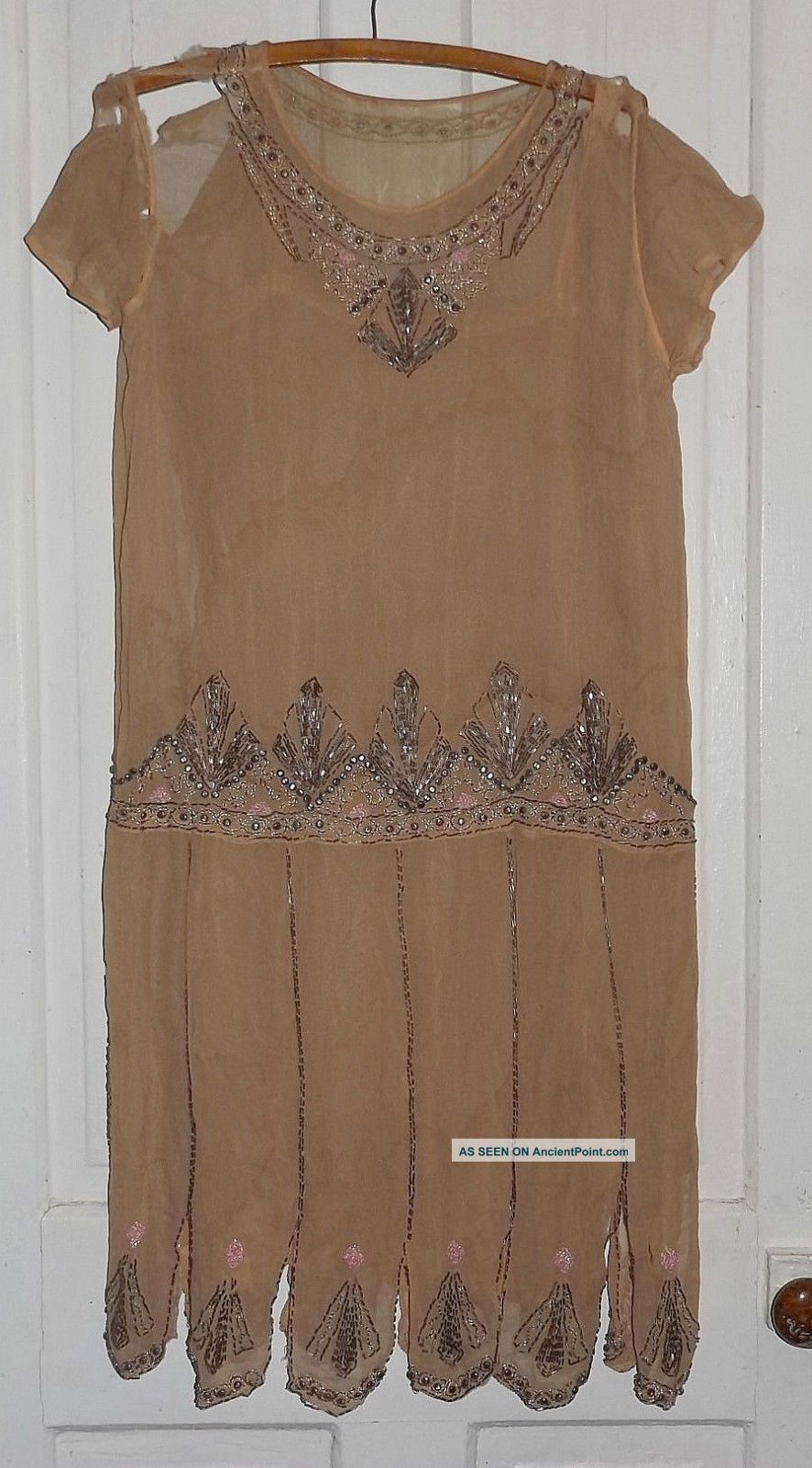 Vtg 1920s Flapper Beaded Silk Chiffon Dress For Study Parts Or Pattern Other Antique Sewing photo