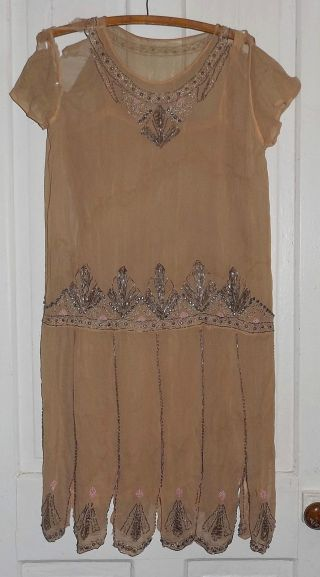 Vtg 1920s Flapper Beaded Silk Chiffon Dress For Study Parts Or Pattern photo