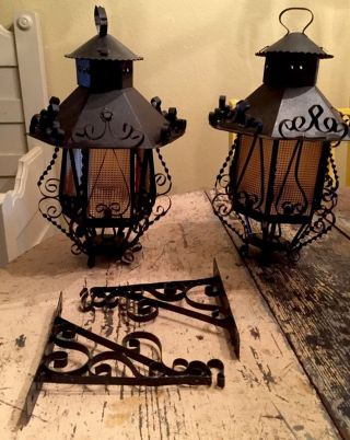 Pair 2 Spanish Scroll Metal Hanging Lanterns Candle Light Lamps Primitive Gothic photo