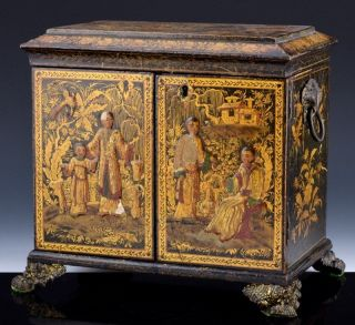 Early 19thc Chinese Gold Lacquer Imperial Figures Multi Drawer Chest Sewing Box photo