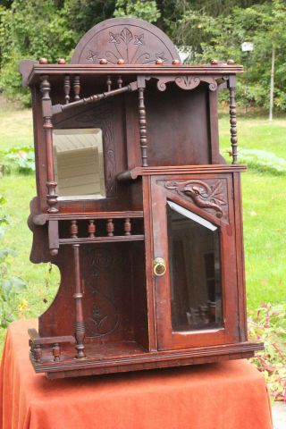 Antique Hand Carved Victorian Eastlake Hanging Wood Cabinet Cupboard Shelf photo