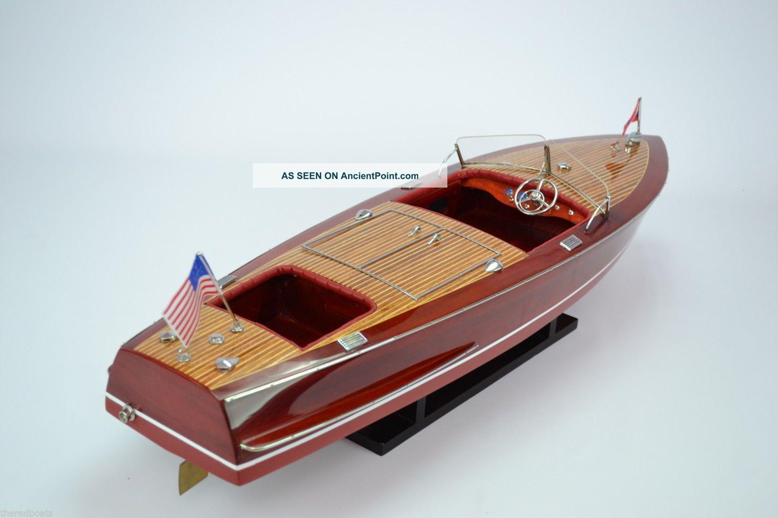 Chris Craft Racing Runabout 1953 - Handmade Wooden Classic Speedboat Model Model Ships photo