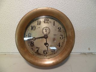 Vintage Brass Chelsea Ship ' S Clock 1940 ' S Hinged Bezel Time Only photo