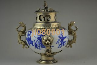 Collectible China Handwork Porcelain Armoured Dragon Leo War Incense Burner photo