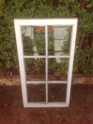 Vintage 6 Pane Window Sash Old Wood Picture Frame Sashes Farmhouse Chic Shabby photo