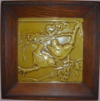 Charming Antique Tile Of 2 Birds On Branch.  Lovely Detail.  In Frame photo