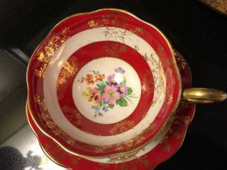 Royal Standard Tea Cup And Saucer Large Wide Mouth Red & Floral Teacup Pattern photo