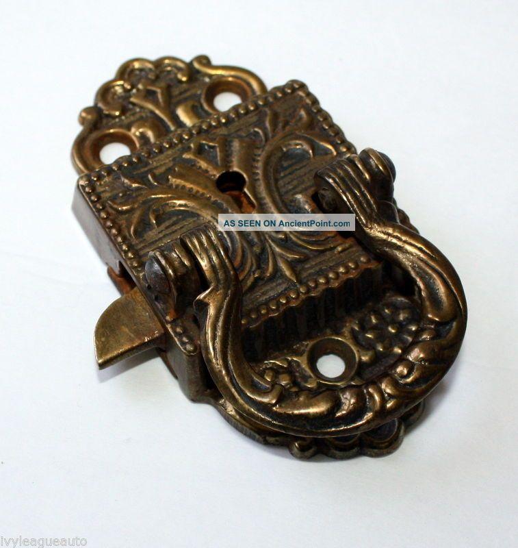 Cast Brass Icebox Cabinet Latch Hardware Handle Lock C1897 No Key Antique Decor Ice Boxes photo