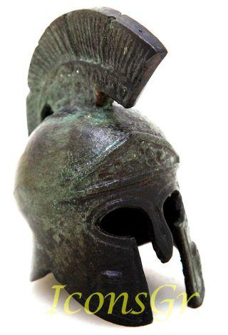 Ancient Greek Bronze Museum Replica Vintage Athenian Battle Helmet Owl Crest photo