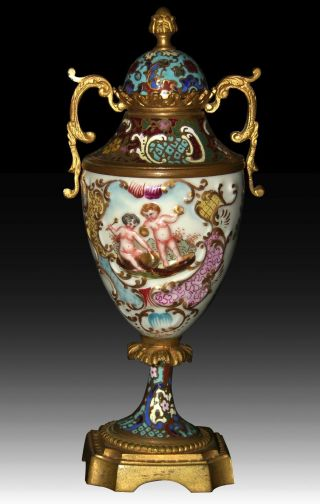 Antique French Bronze Champleve & Porcelain Sevres Style Urn photo