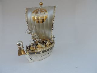 Exquisite Japanese Solid Sterling Silver Enamel Treasure Ship 250 Grams 8.  8 Oz photo