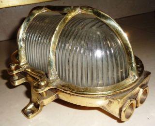 Rare Vintage Marine Oval Brass Passage Light photo