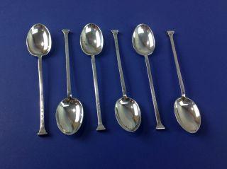 6 Sterling Silver Cooper Brs Sheffield England Art Deco Demitasse Tea Spoons 52g photo