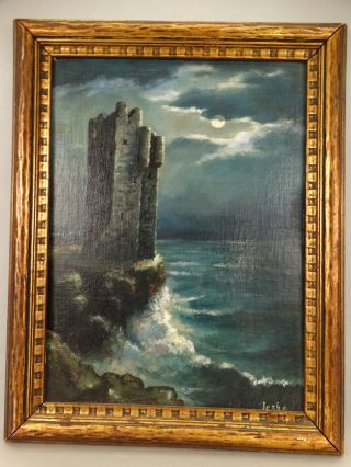 Antique Art Deco Luminist Moonlight Castle Ruins Tower Rocky Shore Oil Painting photo