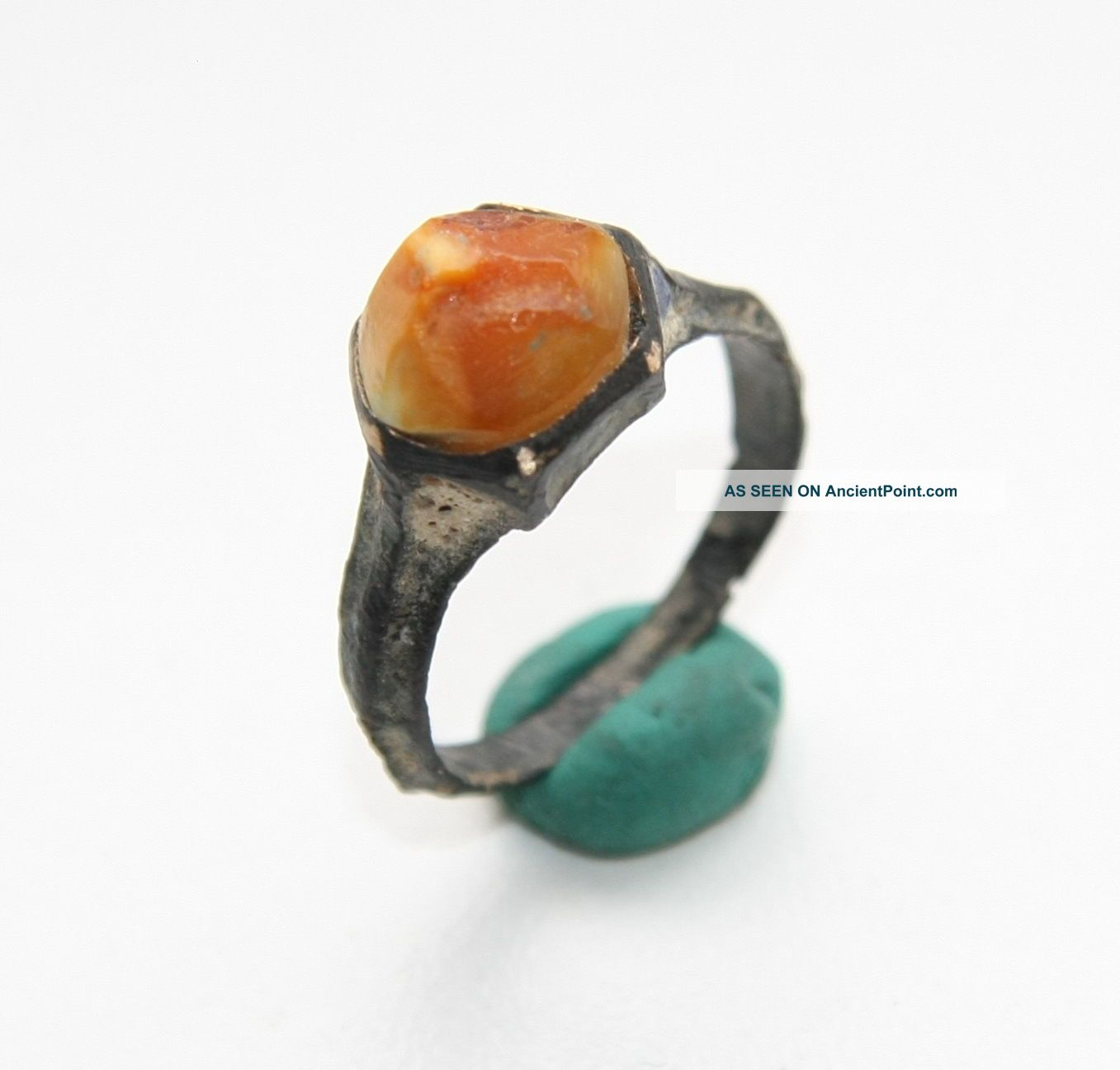 Ancient Medieval Bronze Finger Ring With Amber Inlay (ocr02) South Italian photo