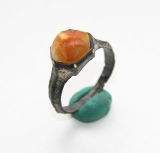 Ancient Medieval Bronze Finger Ring With Amber Inlay (ocr02) photo