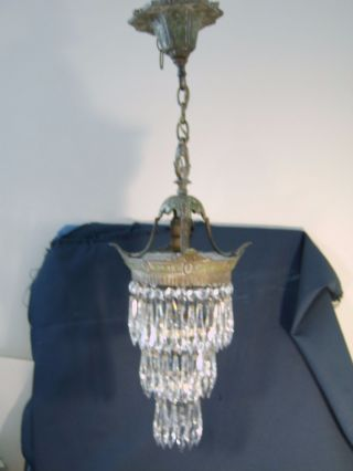 Antique C.  1920 1 Light 75,  Crystal Prisms Water Fall Chandelier Victorian Style photo