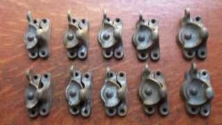 Ten Antique Cast Brass Victorian Scalloped Window Sash Locks C1900 photo