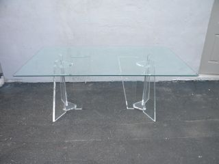 Mid - Century Modern Lucite Beveled Glass - Top Dining Table 3319 photo